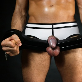 Bondage, Cock and balls, BDSM, Dark Line, Ball Crusher, Wrist Handcuffs, Restraint, Torture